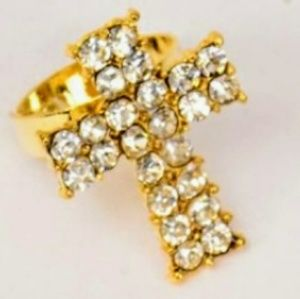 ✝️Clear & Gold✝️Rhinestone✝️Cross✝️Ring✝️